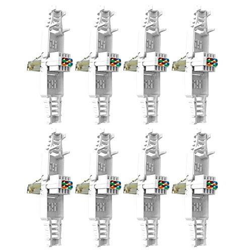 Rj45 Netzwerkstecker Cat Werkzeugfrei Werkzeuglos 8 x Stecker ohne Werkzeug Montage Netzwerk vergoldete Kontakte Modular für Kabel Verlegekabel Cat5e Cat6 UTP Kabel Plug ARLI 8 Stück - Cat5e Rj-45-utp-werkzeug
