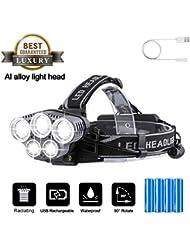 Lampe frontale à LED ultra lumineuse, lampe frontale 10 000 lm 5 LED 6 modes étanche, anti-tache USB rechargeable, photophore, étanche réglable, batterie intégrée avec voyant d'avertissement