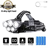 OUTERDO Rechargeable Head Torch,LED Headlamp 15000LM Flashlight 5 LED 6 Modes Helmet Light