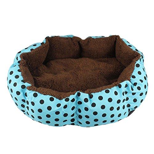 Malloom® grande suave perro perrito gato acariciar cachorro caliente felpa acogedor vellón cama casa cesta nido con estera almohadilla (azul (