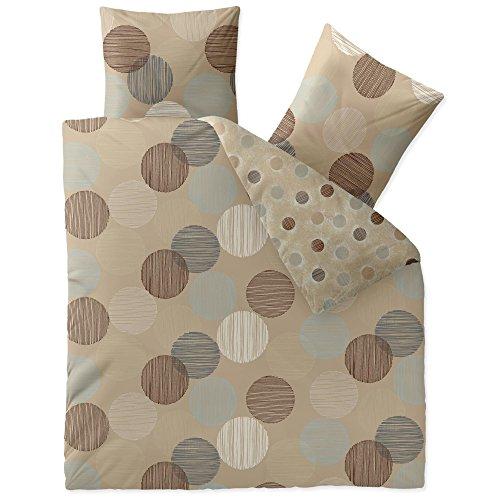 aqua-textil Trend Bettwäsche 200 x 220 cm 3-teilig Bettbezug Baumwolle Fara Punkte Streifen Natur beige blau braun Wendedesign 0011828 -