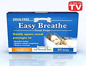 Easy Breathe Natural Nasal Strips - Regular Size (s/m) (30 Strips) ** Drug Free** Reduce Snoring** Relieve Nasal congestion. 100% Drug free. No adverse effect. 100% Satisfaction Guarantee. Solution for sound good night sleep.