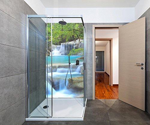 duschwand plexiglas wandmotiv24 Duschrückwand Wasserfall im Wald Duschwand Design 100 x 200cm (B x H) - Plexiglas 3mm, Fugen