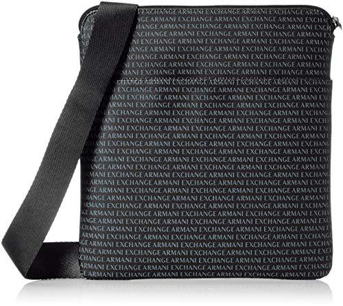 Armani Exchange Mens All Over Logo Print Satchel Crossbody, Black, TU -