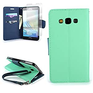 Samsung A7 Case [CoverON CarryAll Series] Wallet Pouch Flip Stand Cover Phone Case with Screen Protector for Samsung Galaxy A7 - Teal / Navy Blue