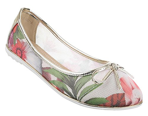 Damen-Schuhe Ballerinas | elegante Slipper mit Schleife in verschiedenen Farben und Größen | Schuhcity24 | perforierte Pumps mit Blumen-Muster Gold