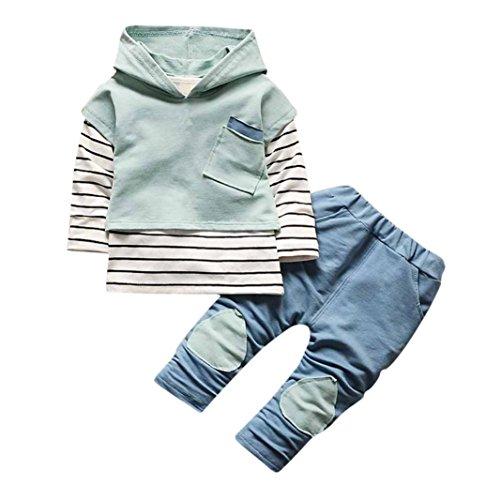 Lilicat Kleinkind Kinder Unisex Baby Junge Mädchen Outfits Mit Kapuze Hooded Sweatshirt Strickjacke Pullover Outwear Mantel Weste BaumwolleStreifen T-Shirt Tops + Hose Kleider Set (24M, Grün) -