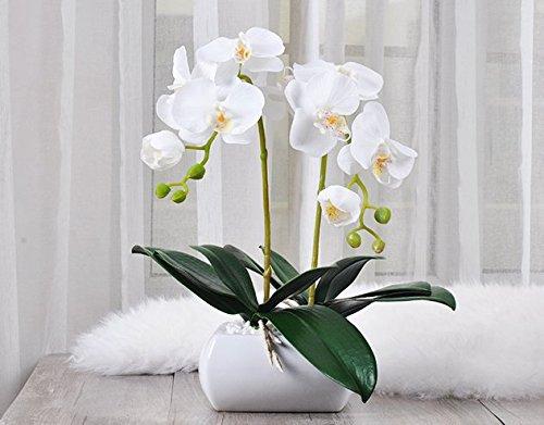 Plantas artificiales Flores falsos decoración elegante casa de orquídeas blancas en macetas
