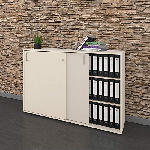 Schiebetürenschrank Sideboard NOVA 3OH 1.640 x 400 mm in Ahorn -