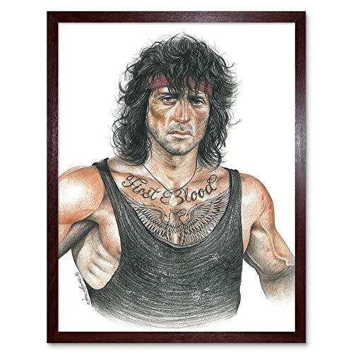 ne Maguire Tattooed John Rambo Inked Ikon Art Print Framed Poster Wall Decor Kunstdruck Poster Wand-Dekor-12X16 Zoll ()