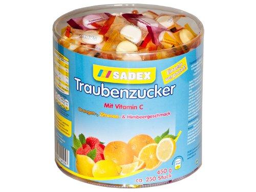Sadex Traubenzucker Dose einzelverpackte Bonbons mit Vitamin C 650g - Traubenzucker