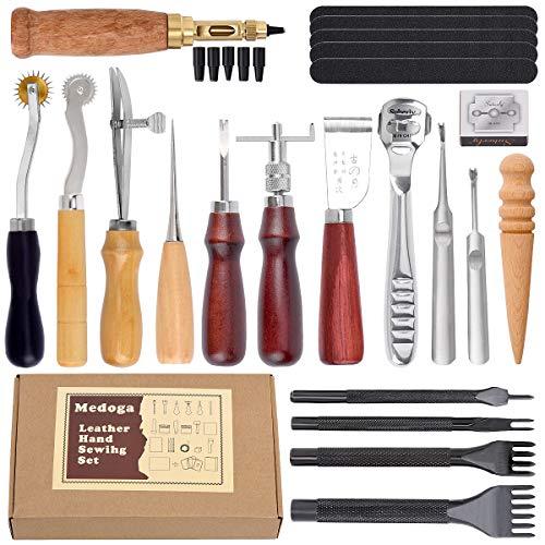 Kit de herramientas de perforación de piel, 18 piezas de costuras par