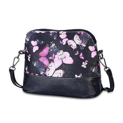 Aelegant Damen Elegant Umhängetasche PU Leder Schultertasche Handtasche mit Schmetterling Blumenmuster Aufdruck Messanger Schmetterling