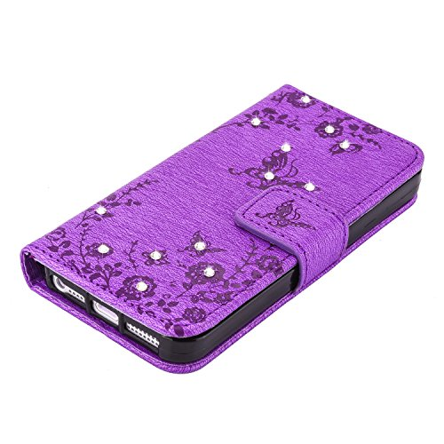 iPhone 5S Hülle Muster, TOCASO Ultra Grau Thin PU Leder Flip Cover Tasche Ledertasche Handytasche Bunte Pattern Schutzhülle für iPhone SE 5 5S Buchstil Handyhülle Protective Case Etui Bumper Schale Wa Diamant-Schmetterling, 5