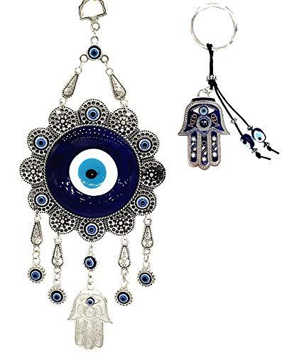 Azul mal de ojo sabio Mono diseño ornamento colgante (con una Betterdecor Pounch de regalo), metal, BEM01