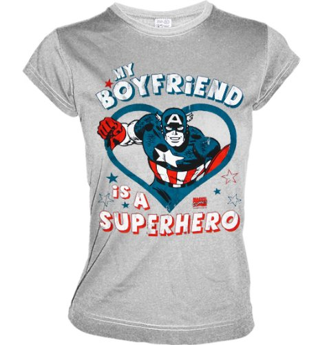 CAPTAIN AMERICA Girl Shirt MY BOYFRIEND IS A SUPERHERO Sportsgrey Gr. M (L415)