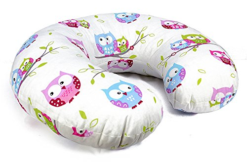 COVER FOR FEEDING PILLOW 100% COTTON NURSING MATERNITY Baby Breast Pregnancy ONLY COVER (Owls White)