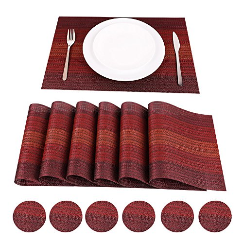 WaaHome Placemats and Coasters Sets of 6 Red Soft Woven Vinyl Placemats for Home, Kitchen