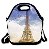 VTXWL Eiffel Tower Trees and Sky with Fluffy Clouds Sunny Day Urban Life Romance Theme Cute Lunch Tote Lunch Bag Outdoor Picnic Reusable