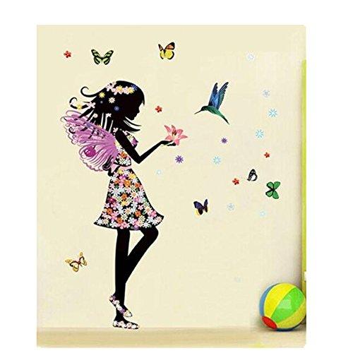 Tefamore DIY Pegatinas de Pared de Vinilo Removible Hogar La Muchacha hermosa de las alas del ángel florece la mariposa (A)