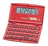 Genie 200 8-stelliger klappbarer Taschenrechne (Dual-Power (Solar und Batterie), schickes Design) rot