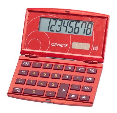 Genie 200 - Calcolatrice tascabile richiudibile con display 8 cifre, design elegante, rosso