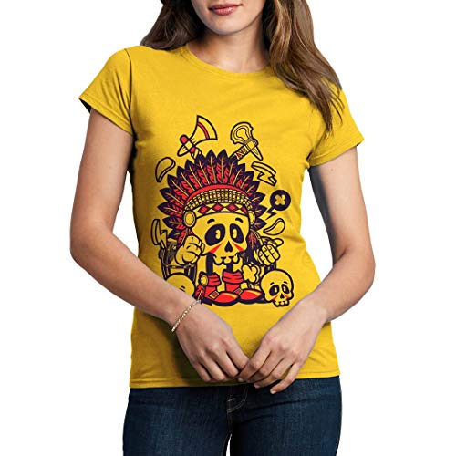 C153WCNTY Damen T-Shirt Indian Chief Skull American Indian Chief Spirit Warrior Axe Wild Free Bike Motorcycle Heritage Vintage Tattoo(Large,Yellow) American Heritage 8
