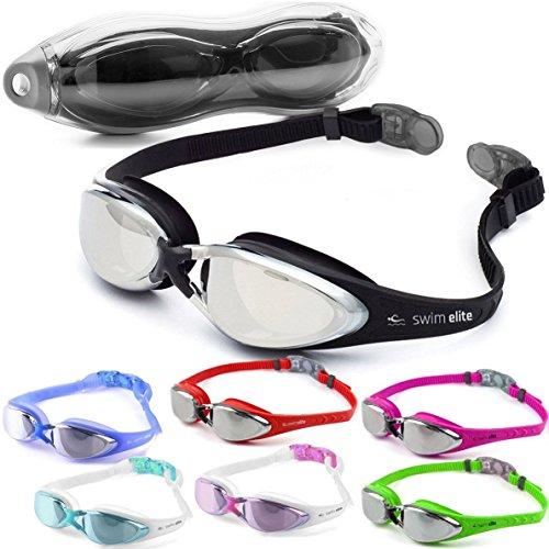Swim Elite Schwimmbrillen Verspiegelt Mit UV Schutz - Beschlag Technologie, Klare Sicht, Wasserdicht - Für Erwachsene, Junioren Innen- und Außenbereich einschließlich (One-Piece Black Mirror) -