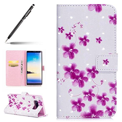 Kompatibel mit Handyhülle Galaxy Note 8 Glitzer Leder Tasche Schutzhülle Brieftasche Handytasche Ledertasche Lederhülle 3D Bunt Muster Bling Glänzend Klapphülle,Kirschenblüte Rosa Blumen