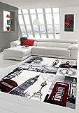 Tappeto Designer Tappeto moderno salotto tappeto London Scene Crema Grigio Rosso Größe 140x200 cm