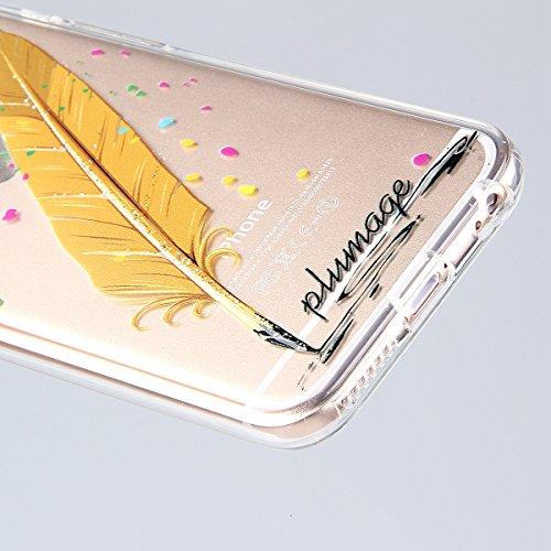 Custodia per iphone 6 Plus, Morbido Copertura per iphone 6 5.5, iphone 6 Plus Caso Ultra Slim, iphone 6/6S Plus morbido Case Cover, Ukayfe Stampa Moda Biker Girl TPU del gel di gomma pelle protettiva Scuro piume arancioni