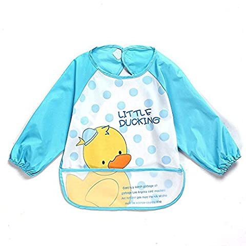 Sohv Unisex Kids Childs Arts Craft Painting Apron Baby Waterproof Bib with Sleeves&Pocket,6-36 Months,A light blue duckling,Set of 1.