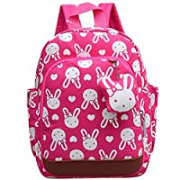 Uniui Rabbit Baby Backpack, Anti-Lost Nursery School Bag for Toddlers Girls Boys Age 1-5 Years Old Kids Safety Harness Backpack with Reins Rose