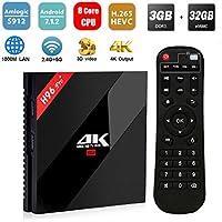 [2018 Ultime Versioni] SINUK H96 Pro plus Android 7,1 TV BOX 3GB +32GB Amlogic 912 64bit Octa-core Ultra HD Smart Set-top Box ,Supporta 2.4G / 5G Dual Wifi /1000M LAN BT 4.1/ 3D