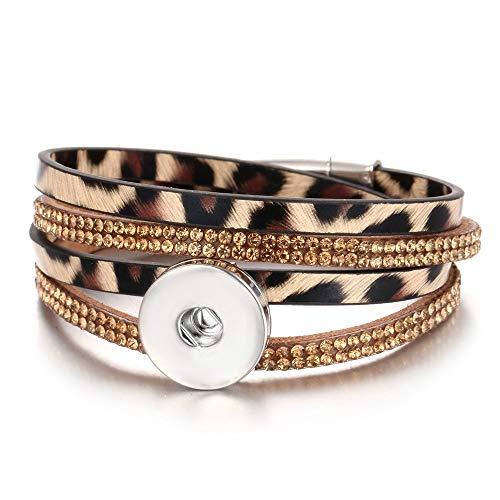 XIANNU Damen Armband,Schaltfläche Schmuck Armband 18mm Leder Snap Armband Wrap Multilayer böhmischen Leopard Leder Armband Braun Silber Leopard Snap