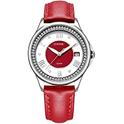 Comtex Women's Watch with Red Leather Strap Quartz Analogue Display Ladies Watch Waterproof