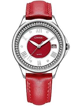Comtex Charmant Damen-Armbanduhr Uhr mit Rotes Lederarmband Analog Quarz Wasserdicht