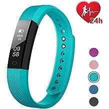 Pulsera inteligente HR, Fitness Tracker pulsera w/podómetro, seguimiento de calorías, Sleep Tracker, & resistente al agua reloj despertador para iPhone y Android, verde