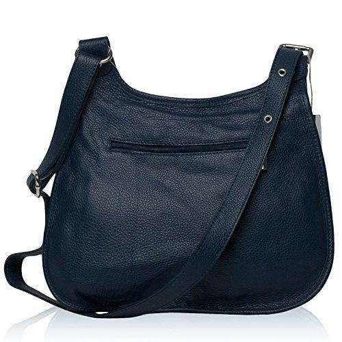 OH MY BAG Borsa a mano pelle donna - Modello PETRA - Borsa di cuoio a tracolla blu scuro