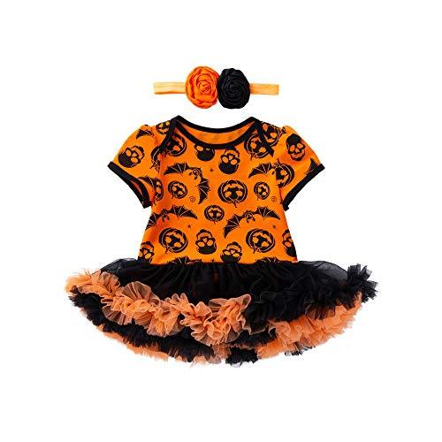 SEWORLD Baby Halloween Kleidung,Neugeborenes Niedlich Infant Kleinkind Baby Mädchen Halloween Kürbis Bogen Party Kleid Kleidung Kleider(Gelb2,18 Monate)
