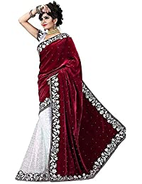 Tagline Women's Velvet Saree With Blouse Piece (Tag60006 ,Red,Free Size)