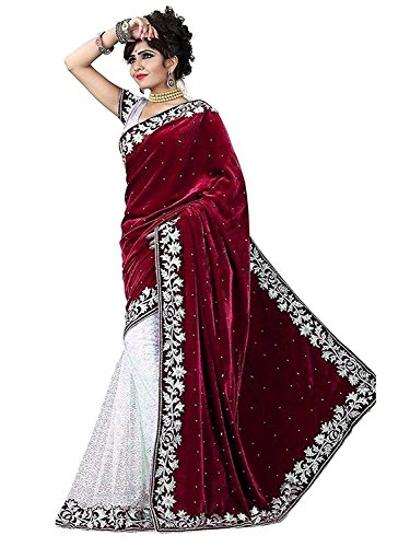 Tagline Women's Velvet & Net Saree With Blouse Piece (Tag50006_Red)  available at amazon for Rs.385