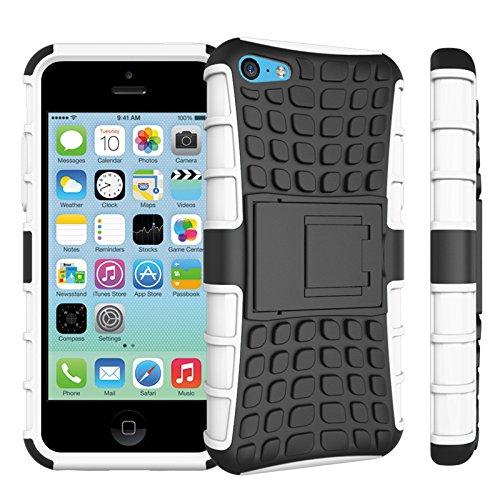 Apple iPhone 5c Coque, SsHhUu Dure Heavy Duty Réduction de Vibration Couverture Double Couche Armure Combo avec Kickstand Protecteur Étui Coque pour iPhone 5c 4.0 Pouce (Bleu) Blanc