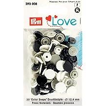 PRYM 393008 Color Snaps Druckknöpfe LOVE 12,4mm marine/grau/weiß, 30 Stück ***BITTE PRODUKTBESCHREIBUNG BEACHTEN***