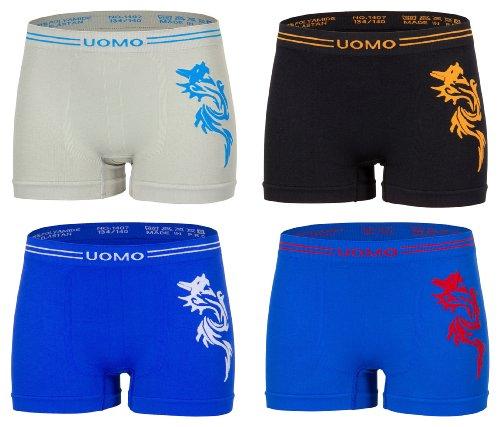 Kid's Fashion Lounge Jungen Boxershorts 'UOMO', 4er Set mit coolem Drachenmotiv, Microfaser m. Elasthan - deutsche Passform, 4 Farben/4er Set, 110-116/8er Set (Lounge-set Herren)