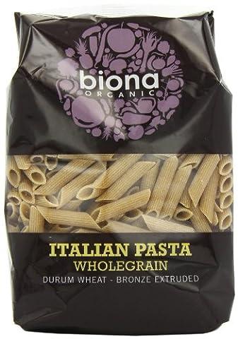 Biona Organic Wheat Pasta Wholegrain Penne -Bronze Extruded 500 g (Pack of 12)