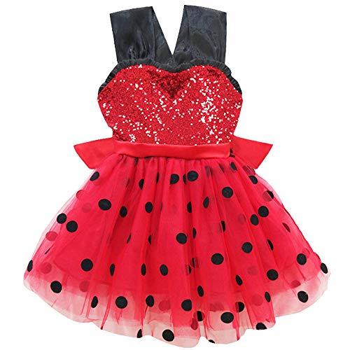 QYS Wunderbarer Marienkäfer verkleiden Sich Kostüm Kostüm für Mädchen Kinder Halloween Geburtstag Party Cosplay Urlaub Pageant Childs Outfit,Skirt,110cm