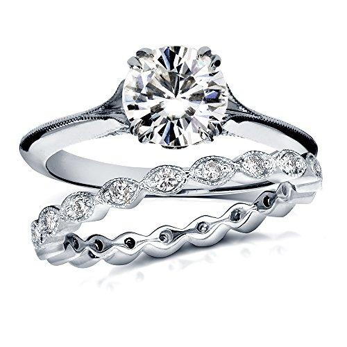 Forever Brilliant Vintage Moissanite and Diamond Bridal Set 1 2/5 Carat (ctw) in 14k White Gold