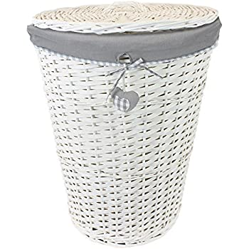 jvl hearts wicker round laundry basket with lid and lining greywhite