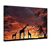 Bilderdepot24 Kunstdruck - Giraffen im Sonnenuntergang - Bild auf Leinwand - 40x30 cm einteilig - Leinwandbilder - Bilder als Leinwanddruck - Wandbild